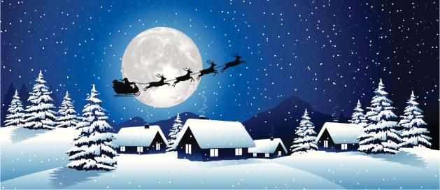 Winter Landscape with Santa Claus