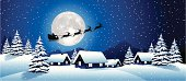 Illustration of Santa's sleigh. Hi-res jpg included (7000x3033px) and EPS-8 file.