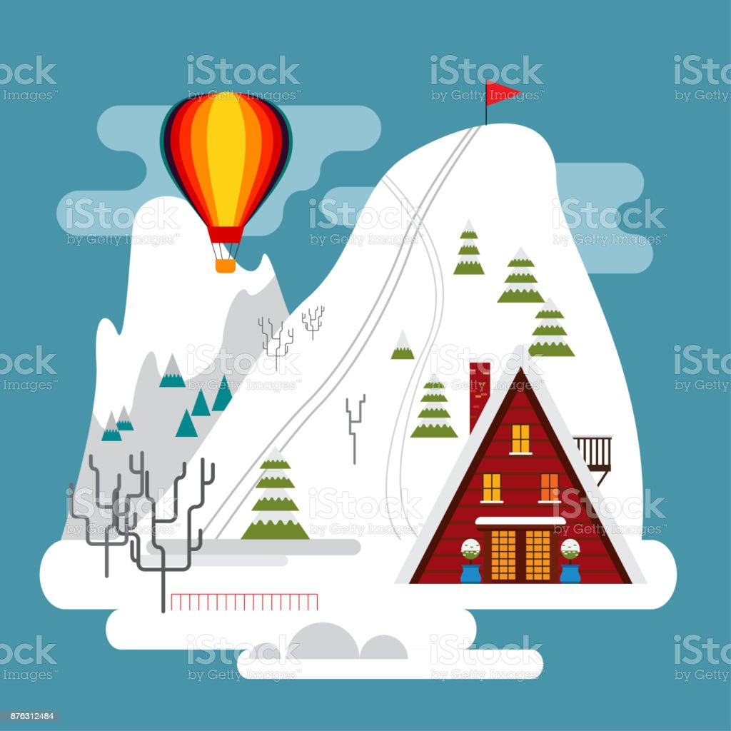 Winter landscape with ski resort, ski tracks and hotel. Snow mountains, trees and firs. vector art illustration