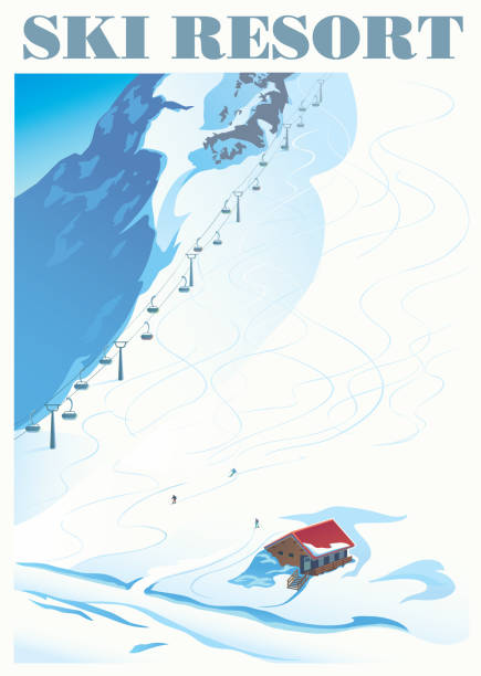 Winter landscape with ski slope Winter landscape of a ski resort with mountains and a slope for skiing. Vector illustration. avalanche stock illustrations