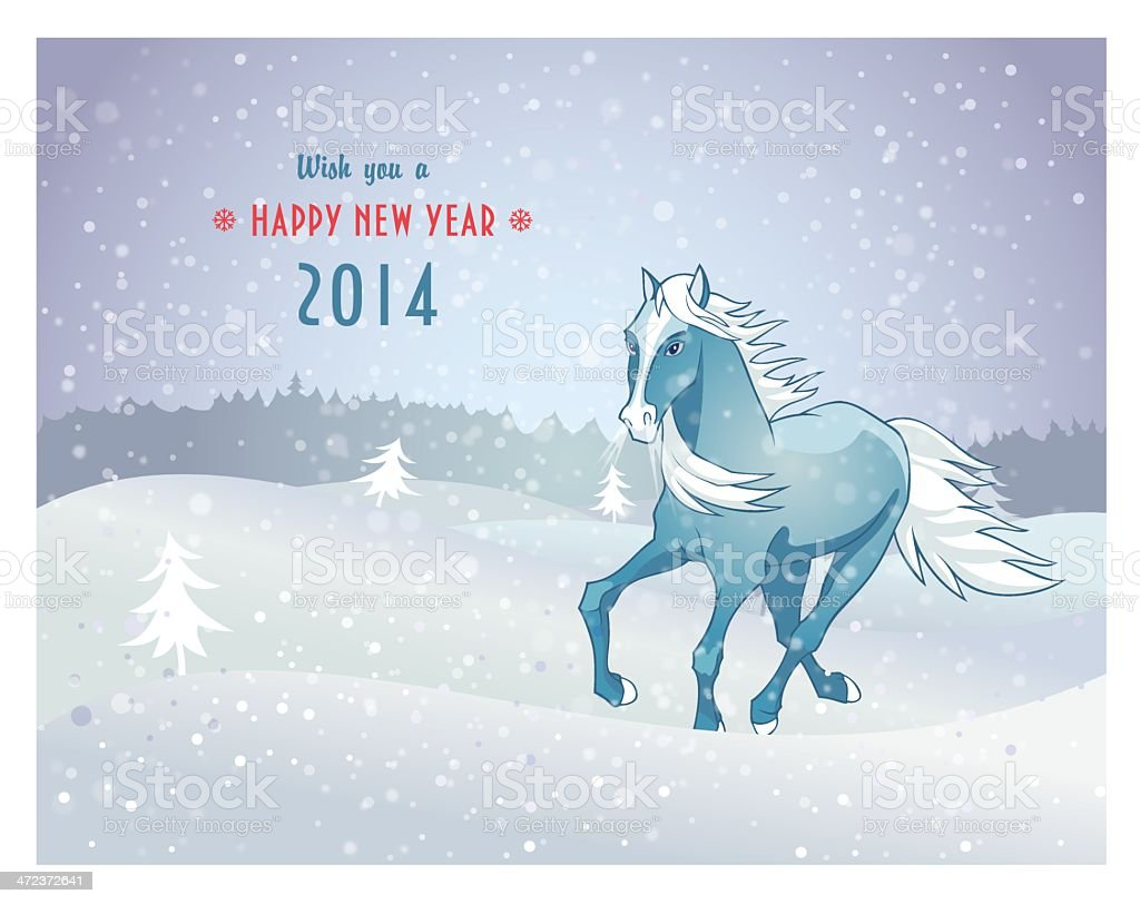 Winter landscape with snow horse new year 2014