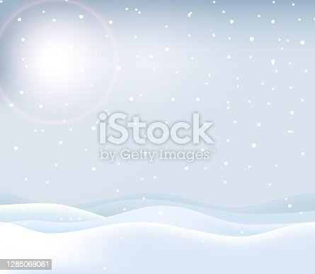 Winter landscape with snowdrifts and falling snow, vector