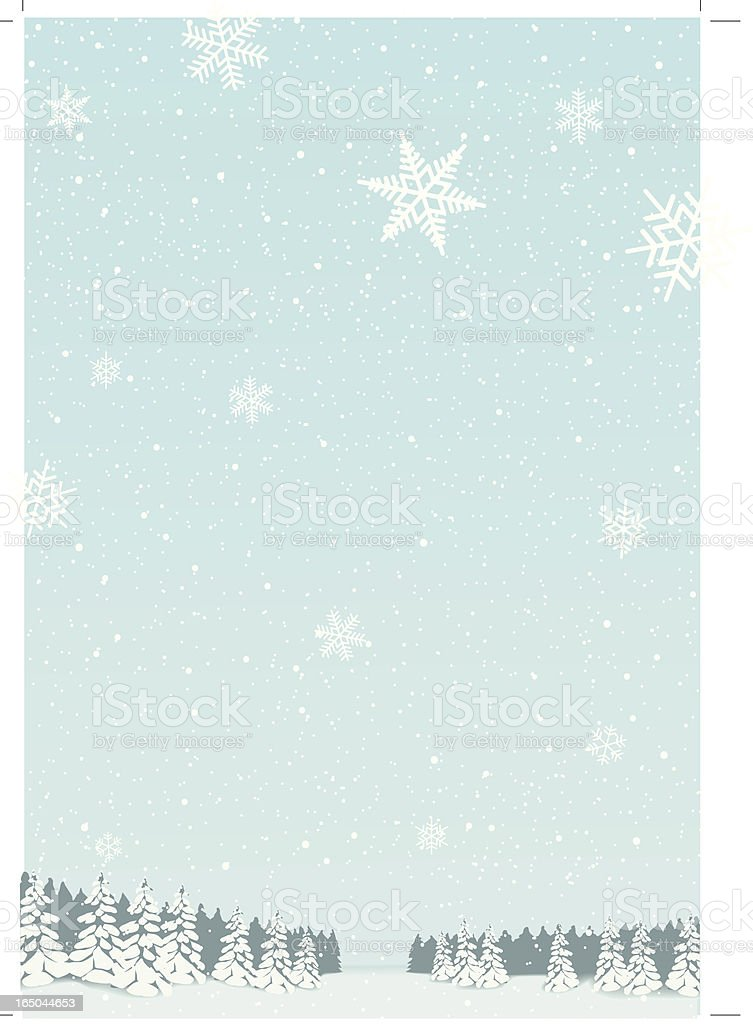 Winter landscape with Snowflakes vector art illustration