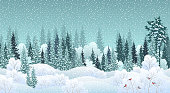 Winter landscape with snowy forest and birds, vector illustration.
