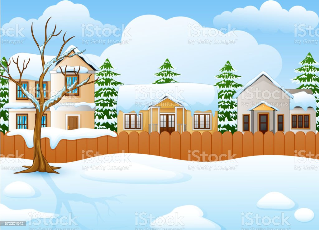 Kış Manzarası Ile Karlı Ev Ve Köknar Ağacı Stok Vektör Sanatı