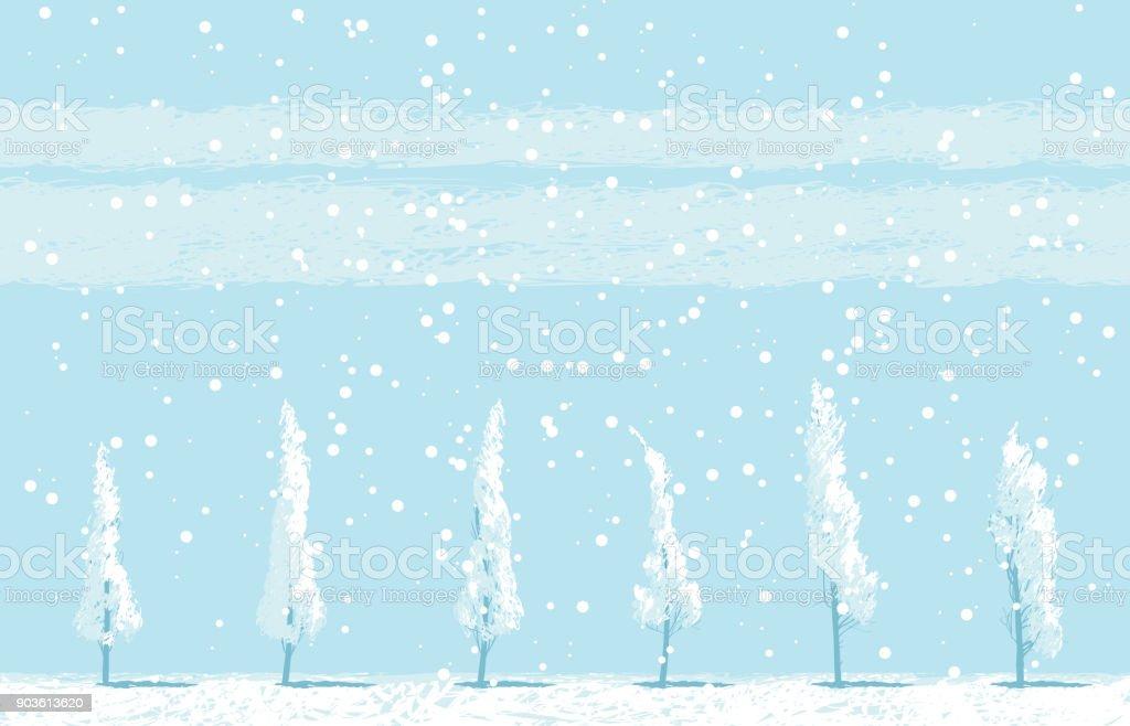 Winter landscape with snowy trees on sky backdrop - illustrazione arte vettoriale