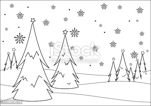 istock Winter landscape with trees in the snow. Vector black and white coloring page 1178019779