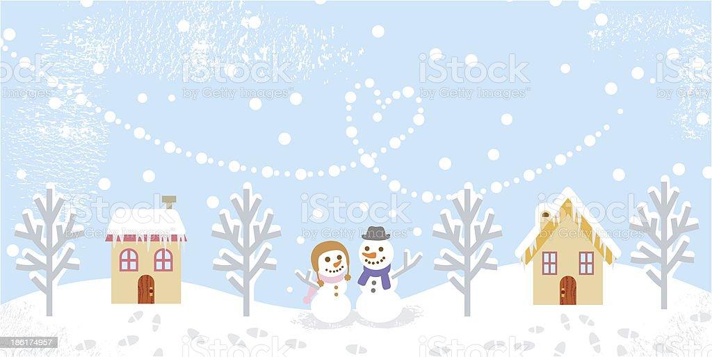 Winter Landschaft Zwei Schneemann Stock Vektor Art Und Mehr
