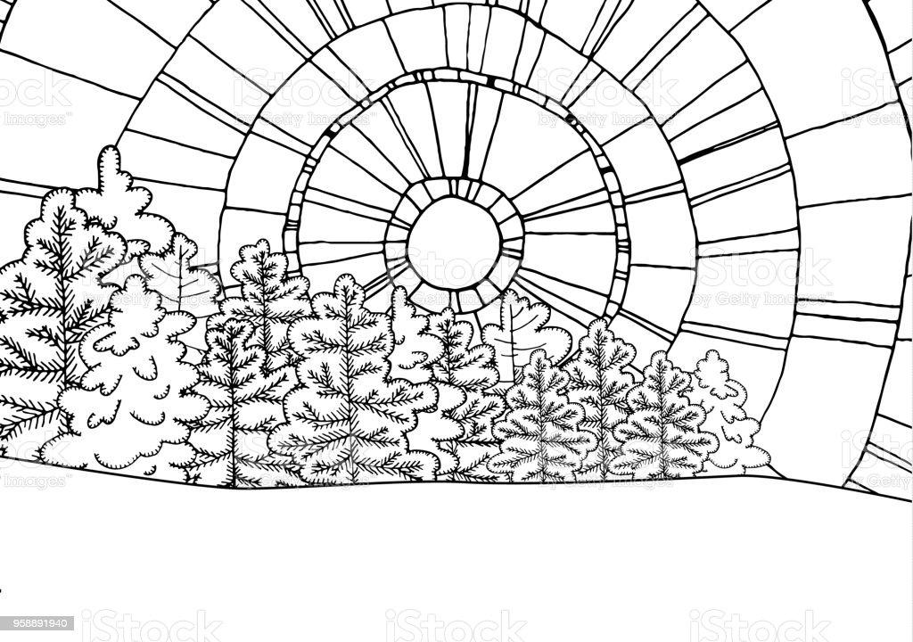 Ilustración de Invierno Línea Arte Diseño De Libro Para Colorear ...