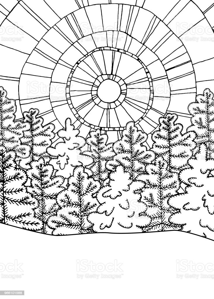 Winter line art design for coloring book. Pine trees and abstract sun. Snowy landscape - Векторная графика Pinaceae роялти-фри