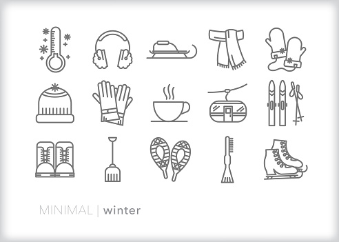 Winter line icons for the coldest season of the year