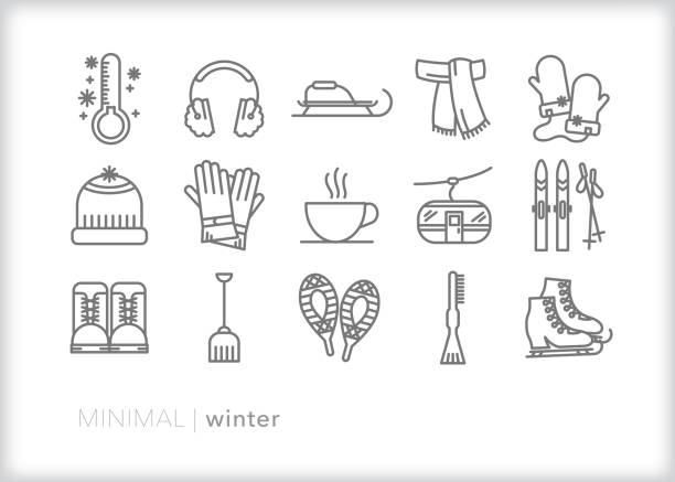 illustrations, cliparts, dessins animés et icônes de icônes de ligne d'hiver pour la saison la plus froide de l'année - raclette