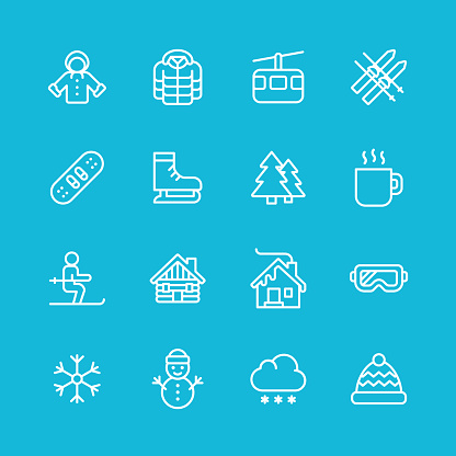 Winter Line Icons. Pixel Perfect. For Mobile and Web. Contains such icons as Winter, Season, Snow, Skiing, Christmas, Christmas Tree, Snowman, Hot Drink, Skates, Jacket, Coat, Snowboard, Hut, Skis, Goggles, Skates.