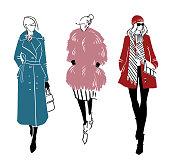 Winter look. Fashion illustration, vector