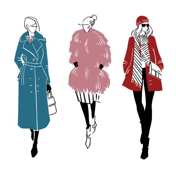 ilustraciones, imágenes clip art, dibujos animados e iconos de stock de look de invierno. ilustración de moda, vector - moda de mujer