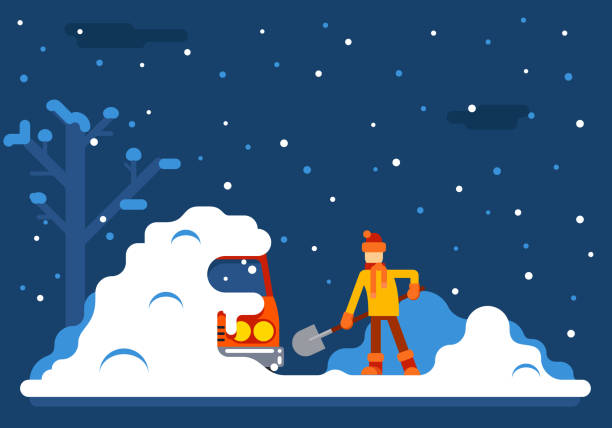 Winter Man Digs Car Out of Snow Background Flat Design Winter Man Digs Car Out Snow Background Flat Design Vector Illustration driveway stock illustrations