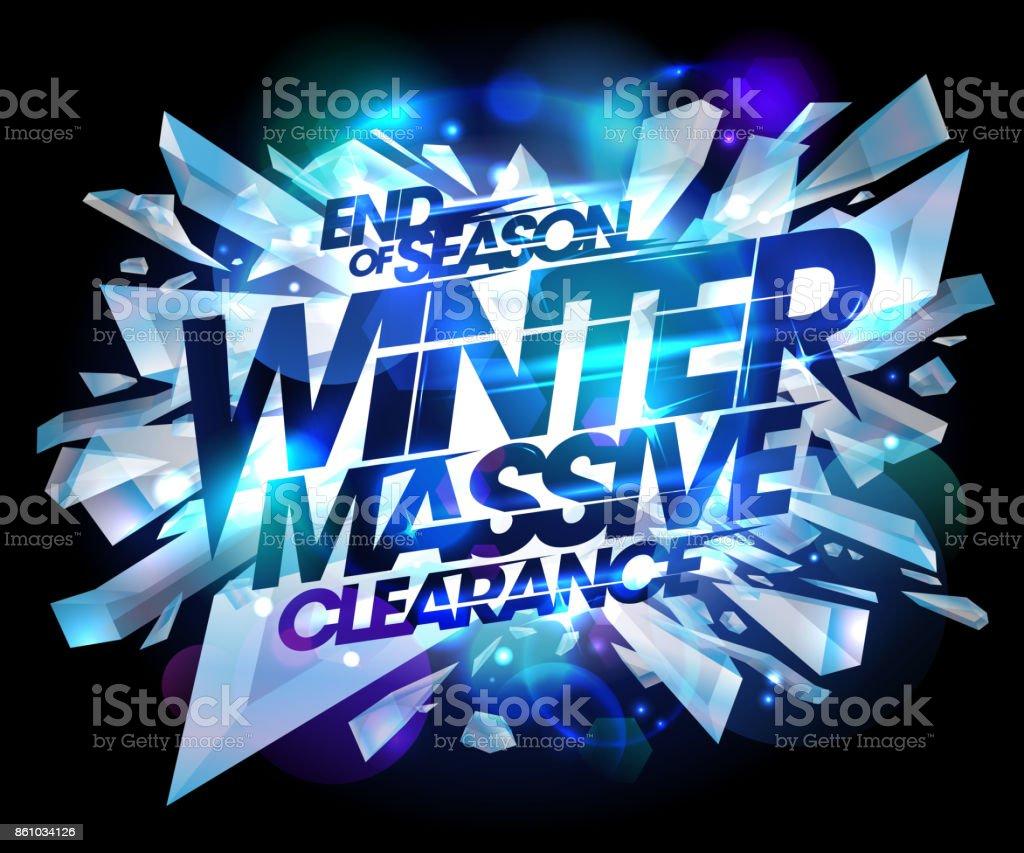 Winter massive clearance sale design vector art illustration