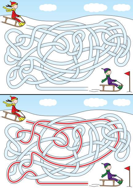 Labirinto de inverno - ilustração de arte em vetor
