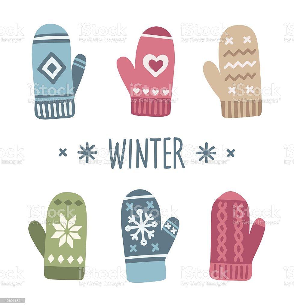 Winter mittens vector art illustration