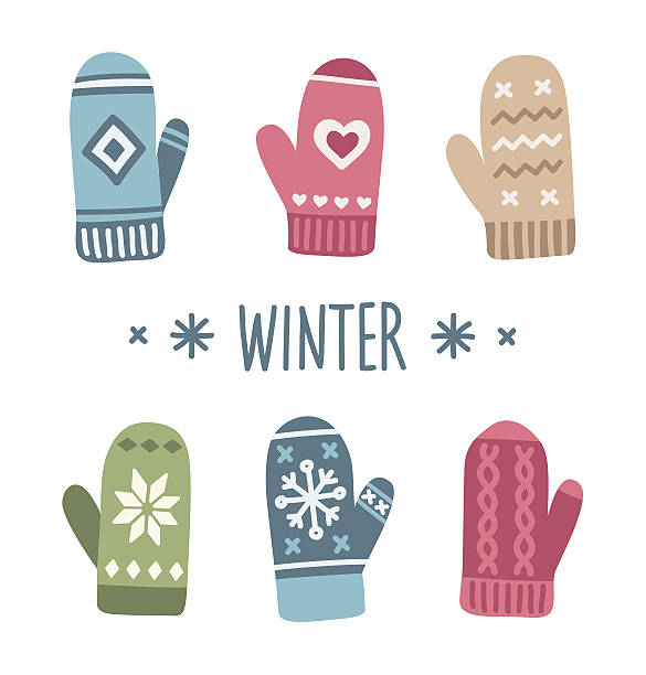Winter mittens Winter mittens set in soft vintage colors. Vector illustration. mitten stock illustrations