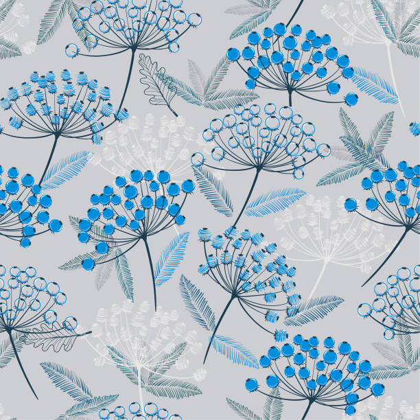 Winter monotone blue Hand drawn seamless vector pattern. Fall/winter line flowers and blue berries design for fashion,fabric.wallpaper and all prints vector art illustration