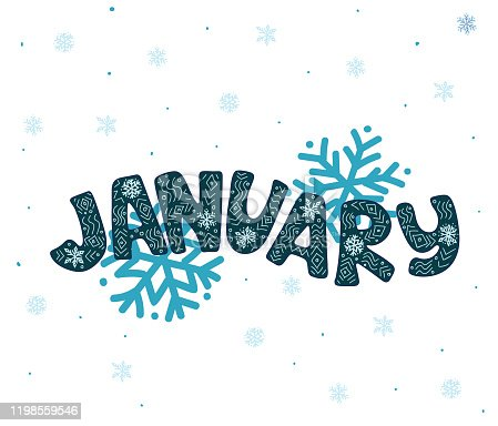 Winter month of January: blue cyan lettering text design with snowflakes and snow ornament - Handwritten vector illustration