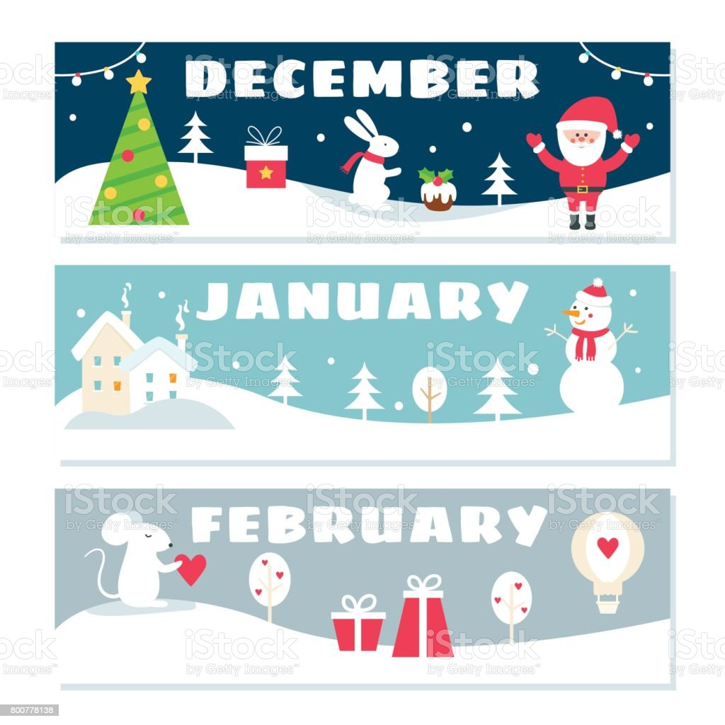 Winter Months Calendar Flashcards Set. Nature, Holidays and Symbols Illustrations vector art illustration