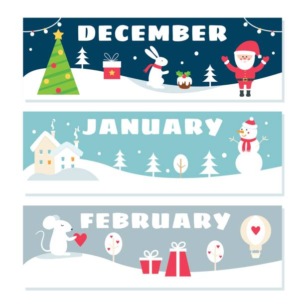 wintermonaten kalender flashcards set. natur, reisen und symbole illustrationen - naturkalender stock-grafiken, -clipart, -cartoons und -symbole