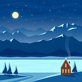 Winter night snow landscape with moon, mountains, hills, stars, fir trees, river, lake, cozy house with lighted windows, village cottage. Christmas and new year welcoming. Flat vector illustration.