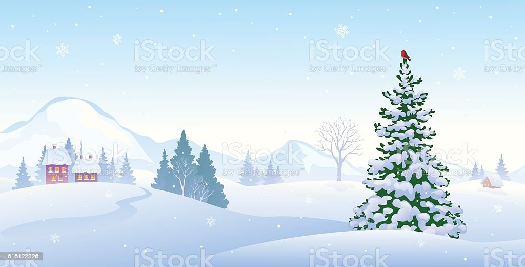 Winter morning background vector art illustration