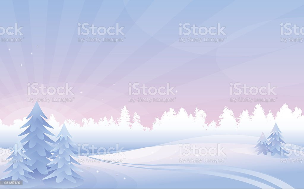 Winter morning landscape. vector art illustration