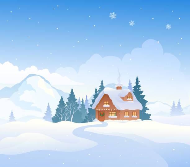 stockillustraties, clipart, cartoons en iconen met winter berghuis - christmas cabin