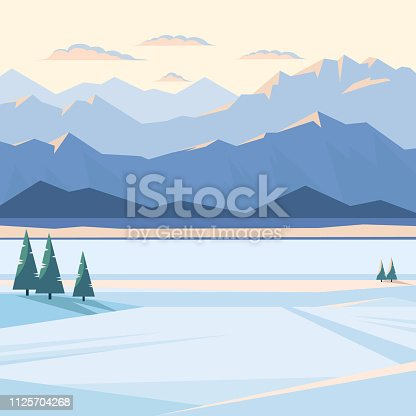 istock Winter mountain landscape at sunset and dawn. 1125704268