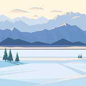 Winter mountain landscape with snow and illuminated mountain peaks, river, fir tree, plain, sunset, dawn. Vector flat illustration.
