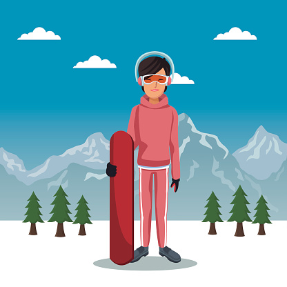 winter mountain landscape poster with skiere woman with equipment and sky table