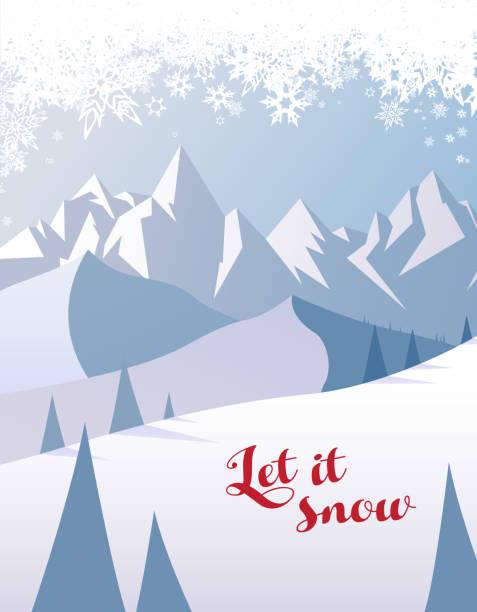 Berg Landschaft Winterlandschaft mit lassen Sie es Schnee Text. – Vektorgrafik