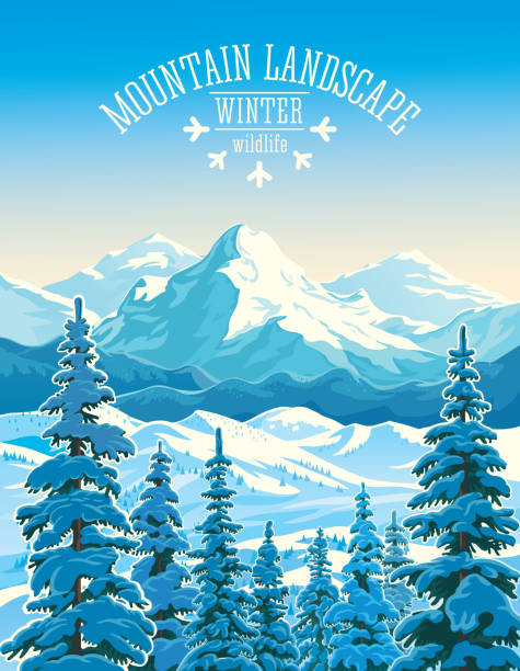 Winter mountain landscape Winter mountain landscape with firs in the foreground. avalanche stock illustrations