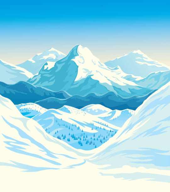 Winter mountain landscape Winter mountain landscape with steep slopes along the edges. Vector illustration. avalanche stock illustrations