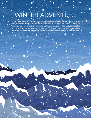 Winter mountain landscape with falling snow. Mountaineering or travelling concept. Climbing, hiking, trekking or extreme sports cover. Vector illustration.