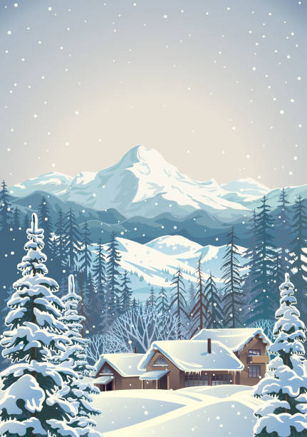 Winter mountain landscape with fir-trees and houses Winter mountain landscape in cloudy day with fir-trees in the foreground with houses similar to shelters for tourists. Vector illustration. avalanche stock illustrations