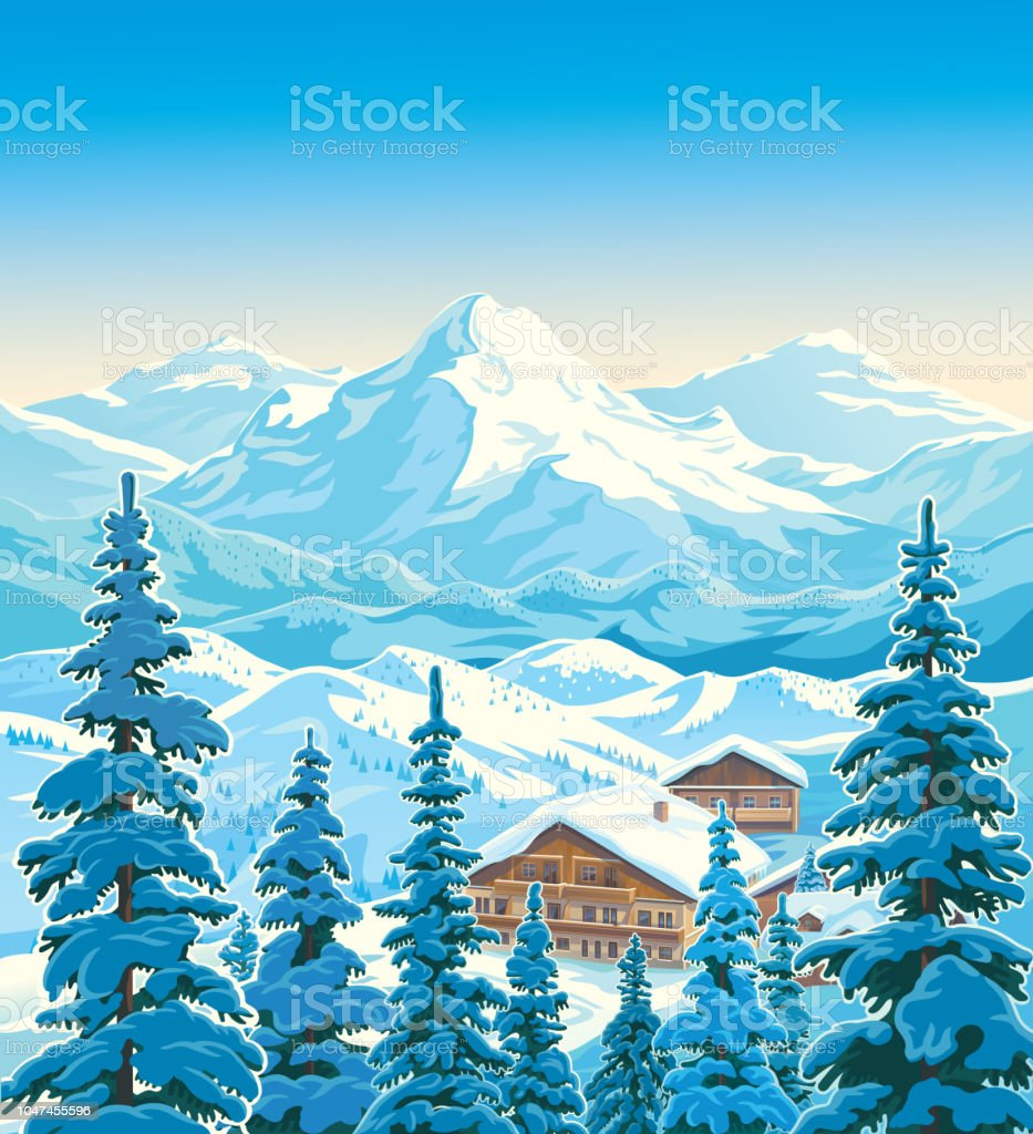 Winter mountain landscape with houses Winter mountain landscape with fir-trees in the foreground with houses similar to the hotels of the ski resort. Vector illustration. Accidents and Disasters stock vector
