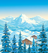 Winter mountain landscape with fir-trees in the foreground with houses similar to the hotels of the ski resort. Vector illustration.