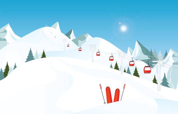 illustrations, cliparts, dessins animés et icônes de paysage de montagne avec une paire de skis dans la neige et des remontées mécaniques de l'hiver. - ski