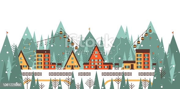 Winter mountain landscape with ski lift, country house, mountains, forest, ski track, winter holiday vacation and skiing concept vector illustration.
