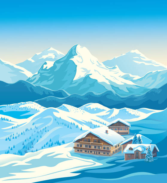 Winter mountain landscape with ski resort Winter landscape of a ski resort with mountains and a slope for skiing. Vector illustration. avalanche stock illustrations