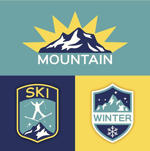winter berge-ski - schneeflocke sonnenaufgang stock-grafiken, -clipart, -cartoons und -symbole