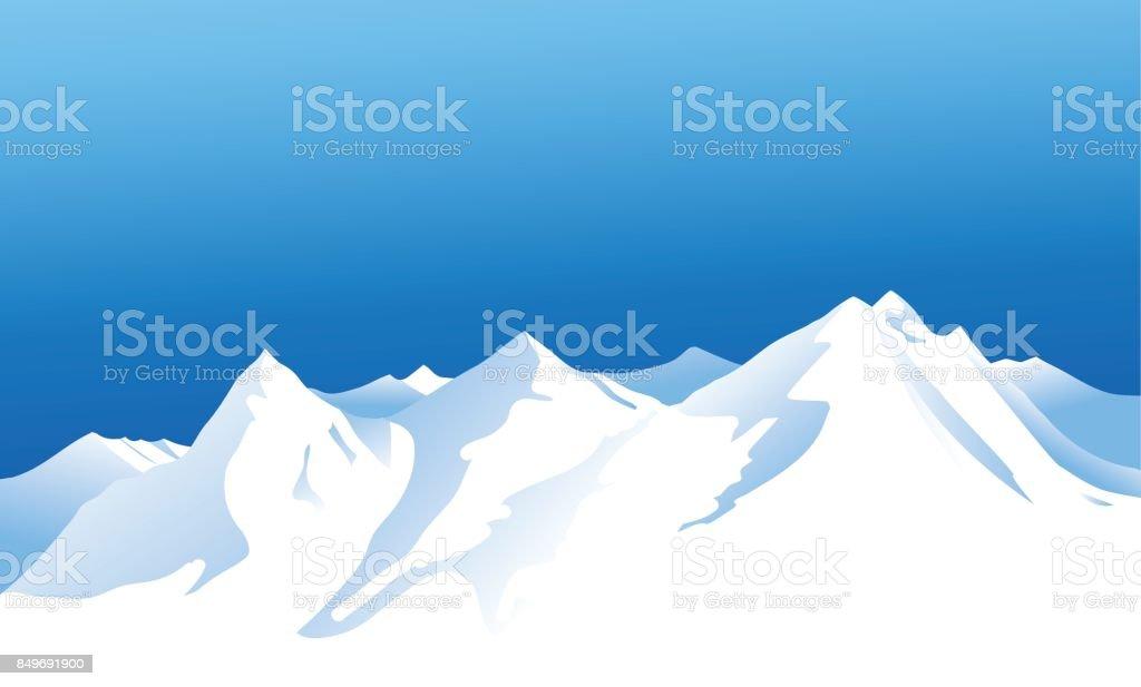 Winter mountains background vector art illustration