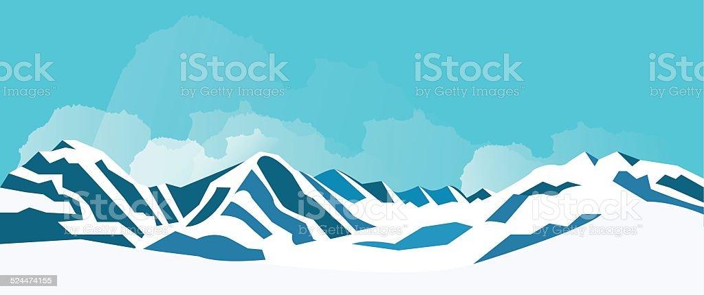 Winter mountains. vector art illustration