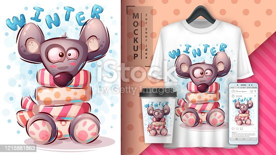 Winter mouse poster and merchandising