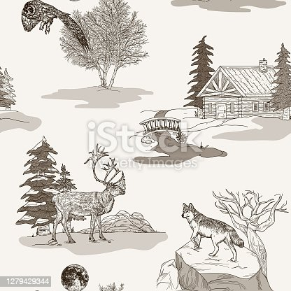 A wintery toile de jouy seamless pattern featuring a snowy scene, a cabin, an owl, a caribou and a moose. Grouped segments and global colours used, easy to make changes to.